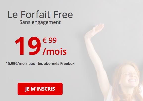 le forfait Free 100 Go à 19,99€