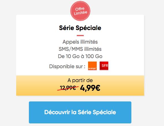 Série spéciale Prixtel promotion forfait pas cher.