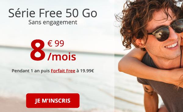 Promo Série Free 50 Go forfait 4G pas cher.