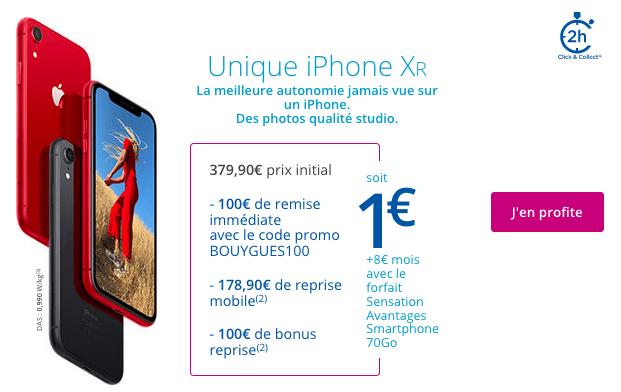 Promo iPhone XR avec forfait mobile chez Bouygues Telecom.