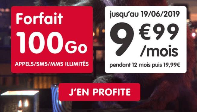 Forfait NRJ Mobile en promotion 100 Go 4G.