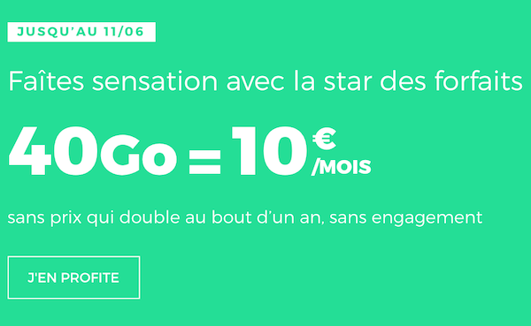 forfait Red by SFR 40 Go pour 10€