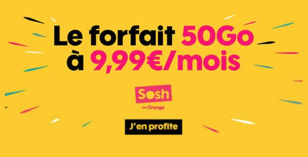 50 Go pour 9,99€ par mois avec le forfait 4G de Sosh