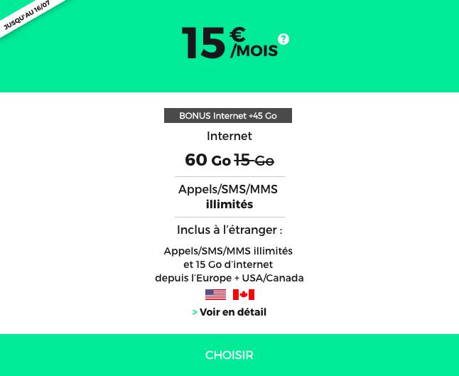 Le forfait 4G à 15€ de RED by SFR