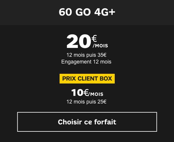 Le forfait 4G 60 Go de SFR