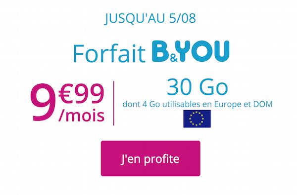 La promotion B&YOU du moment sur un forfait 4G pas cher