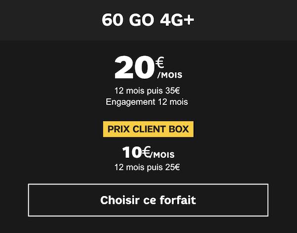 Forfait 60 Go à 20 euros chez SFR