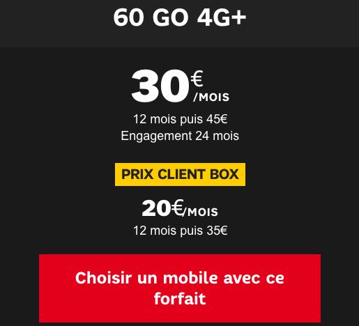 Forfait mobile 60 Go 4G+ à prix cassé chez SFR.