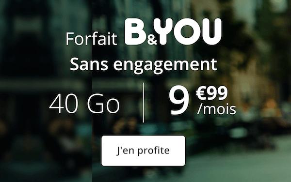 Les derniers instants de la promotion B&YOU sur un forfait mobile 40 Go