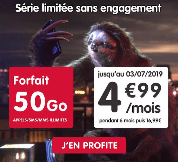 50 Go à 4,99€/mois avec la promo NRJ Mobile