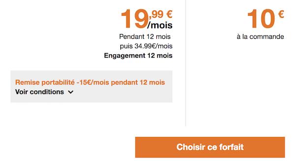 Forfait Orange 50 Go à moins de 20 euros
