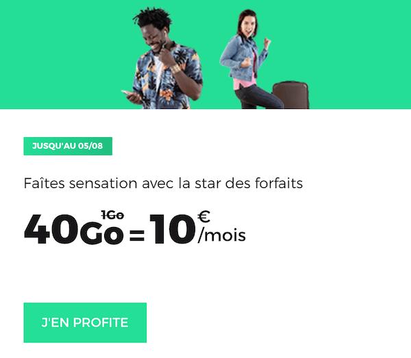 Le forfait mobile 40 Go en promotion de RED by SFR