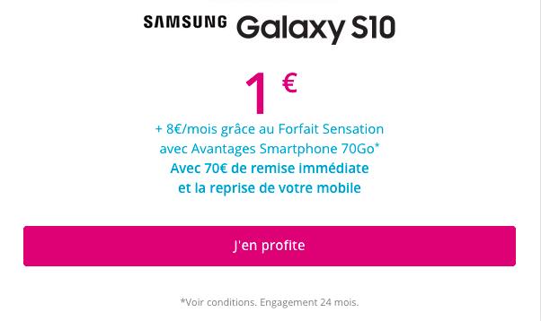 Le samsung Galaxy S10 dès 1€