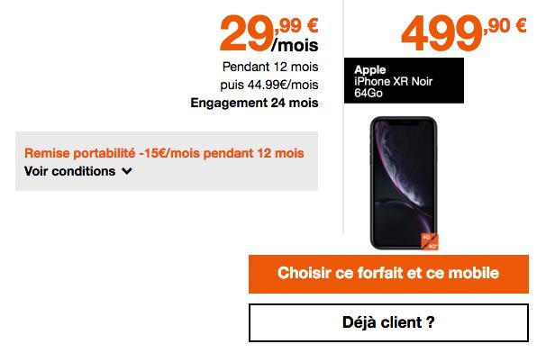 Promo Orange iPhone XR avec forfait mobile.