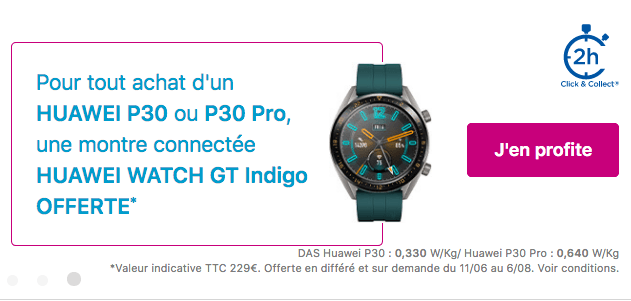Promo montre connectée Bouygues Telecom avec Huawei P30 Pro.