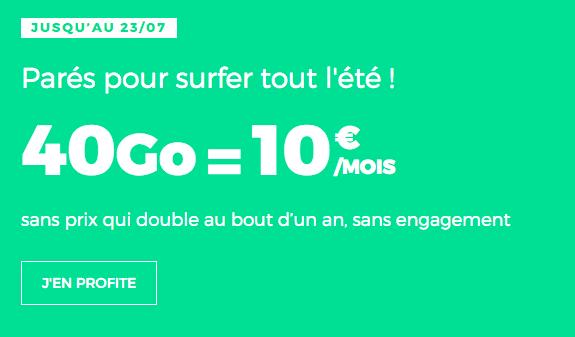Un forfait 40 Go à 10€ par mois seulement.