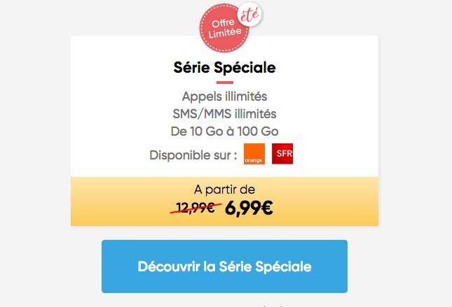 Série Spéciale Prixtel forfait mobile en promo.