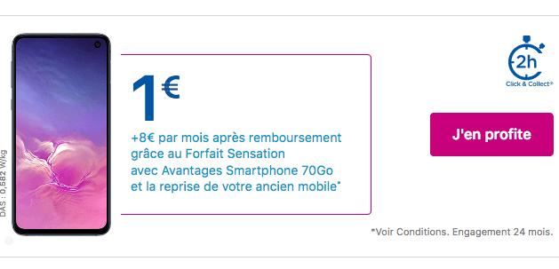 Bouygues Telecom promo Samsung Galaxy S10e.