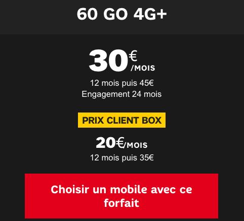 Forfait 60 Go 4G+ de SFR.