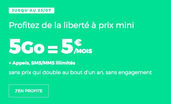 Promo forfait RED illimité 5 Go.