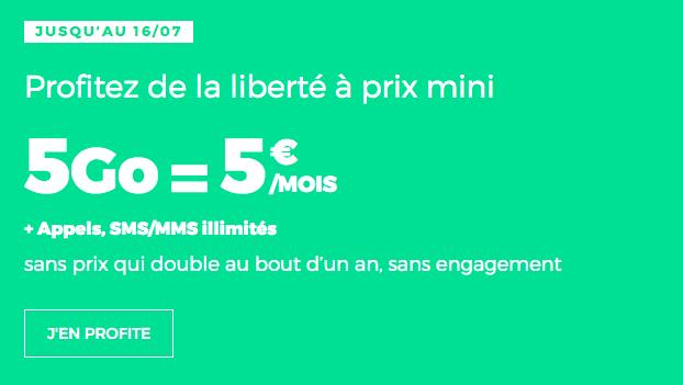 Forfait RED by SFR sans engagement avec 5 Go de data.