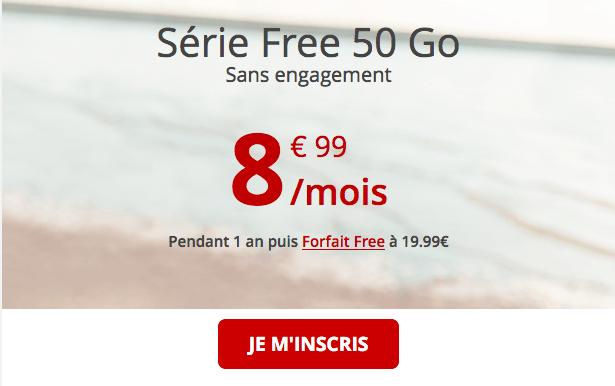 Série Free 50 Go promotion forfait mobile 4G.