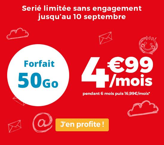 Forfait pas cher disponible chez Auchan Telecom avec 50 Go de 4G