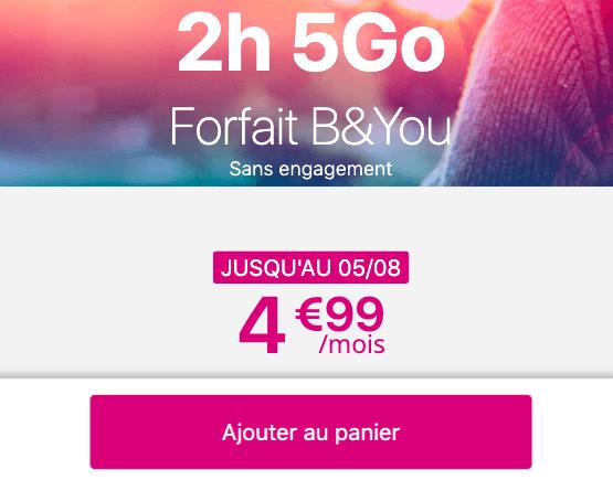Promotion sur le forfait pas cher B&YOU.