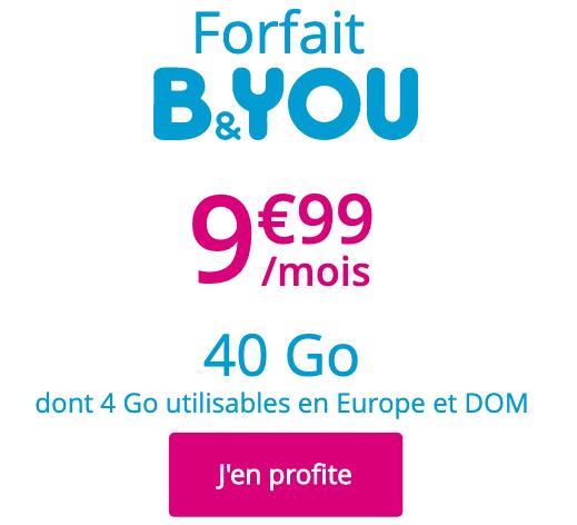 La promotion 40 Go de B&YOU.