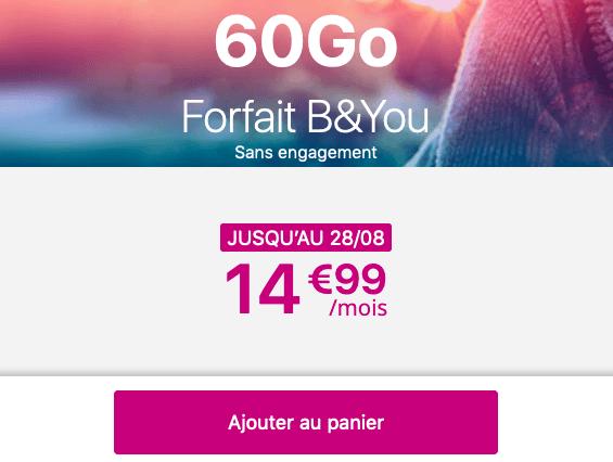 60 Go de 4G pour moins de 15€ chez B&YOU