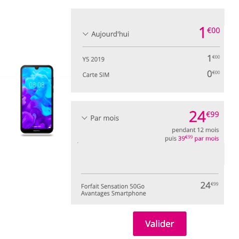 Huawei Y5 et forfait Sensation 50 Go.