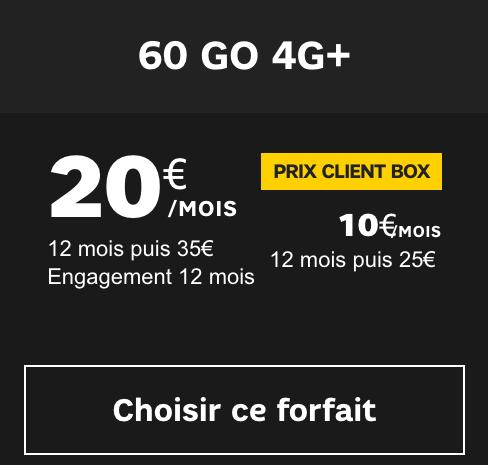 le forfait avec box 60 Go de SFR