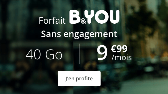 Promotion forfait mobile B&YOU 40 Go.