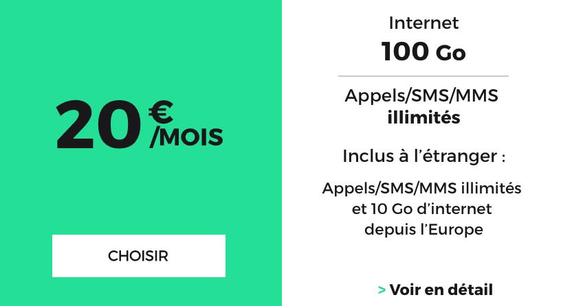 Le forfait pas cher pour 100 Go proposé par RED by SFR