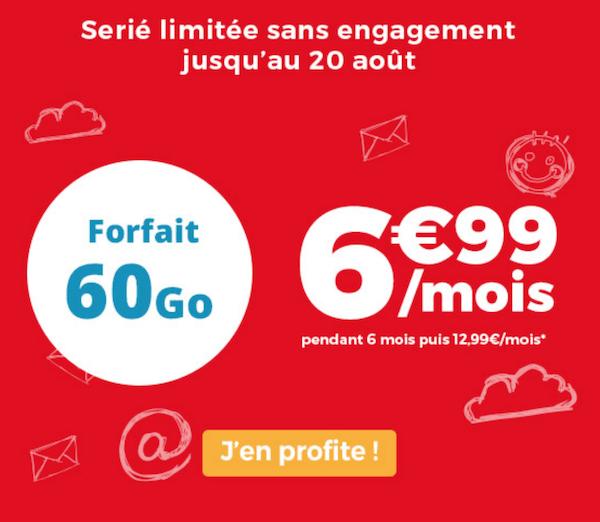 Le forfait 4G de 60 Go dans le catalogue d'Auchan Telecom