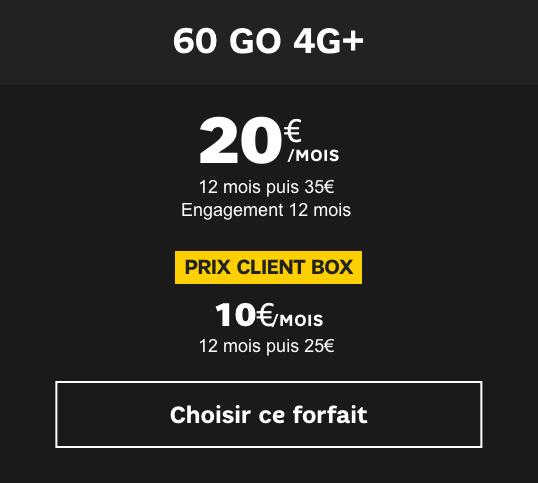 Souscrire au forfait 60 Go de SFR