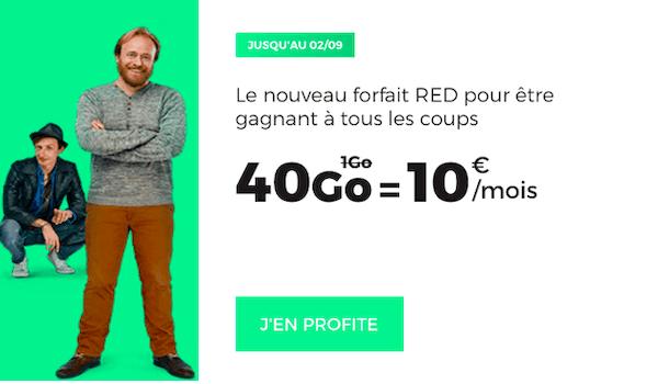 40 Go à 10€ par mois du côté de RED by SFR