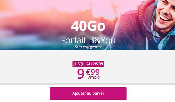 Le forfait en promo de B&YOU proposé à 9,99€/mois pour 40 Go de data