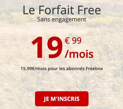 Forfait 4G illimité disponible chez Free mobile.