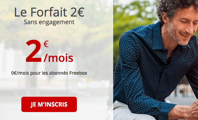 Forfait à 2€ par mois chez Free.