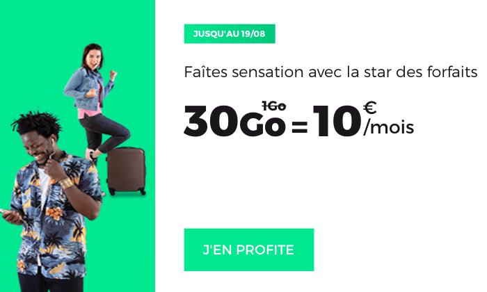 30 Go pour 10€ par mois, le forfait pas cher de RED by SFR.