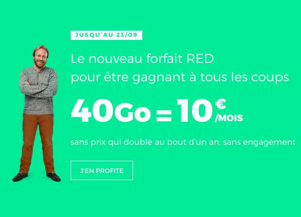 le forfait 40 go à 10 euros de red by sfr