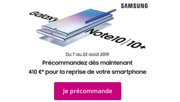 Promo Bouygues Telecom Samsung Galaxy Note10.