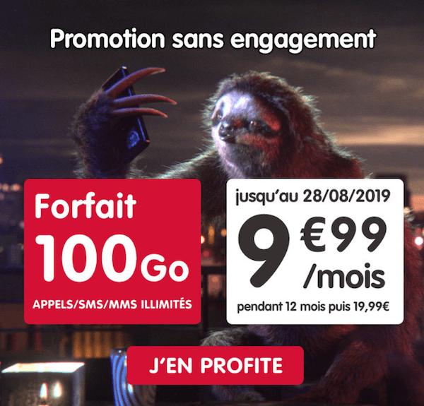 Promotion sur un forfait mobile 100 Go avec la nouvelle offre NRJ Mobile