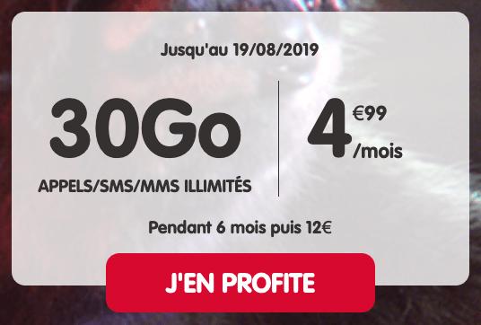 Forfait en promo chez NRJ Mobile : 5€pour 30 Go de 4G