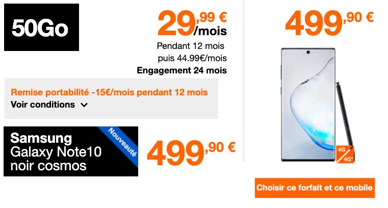 Précommande du Galaxy Note 10 Chez Orange.