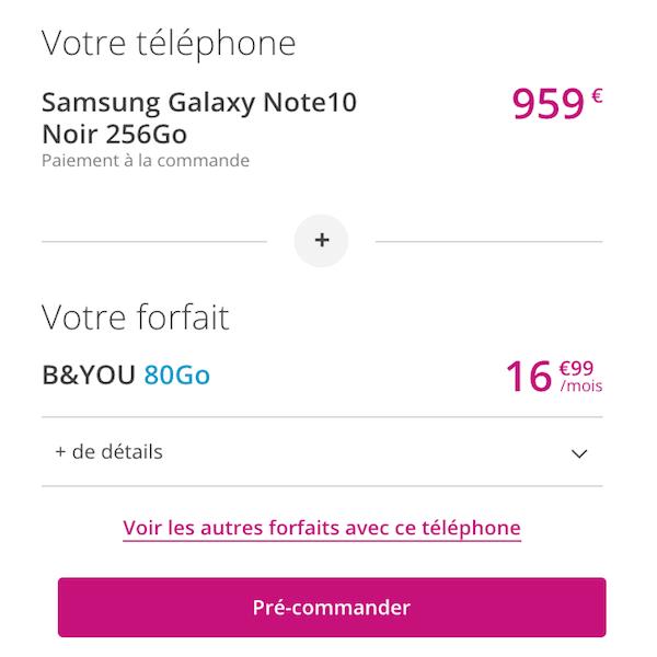 Le Galaxy Note 10 en precommande chez Bouygues Telecom