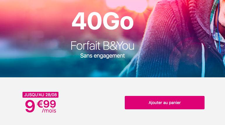 Promotion sur le forfait B&YOU.