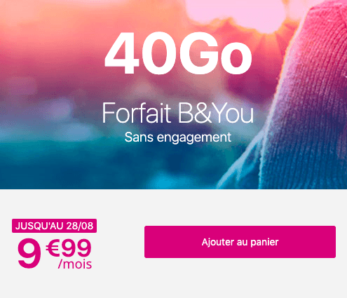 Forfait mobile B&YOU 40 go en promotion