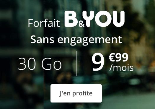 Un forfait moblie B&YOU en promotion chez Bouygues Telecom.